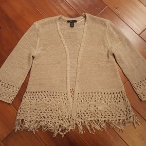 Tan fringed open cardigan, 3/4 sleeves